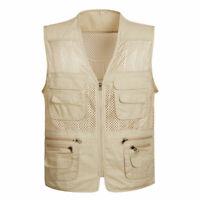 Mesh Cool Mens Fishing Vest travel safari waistcoat hunting work jacket Summer