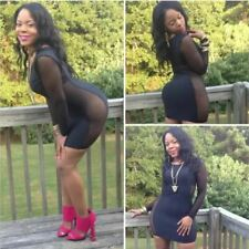 Womens Sexy Little Black Dress Mesh Sheer Long Sleeve LBD Clubbing UK Size 12-14