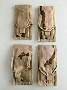 LOT OF 4 NEW GENUINE US GI MOLLE II DCU DESERT CAMO DOUBLE 30 ROUND MAG POUCHES