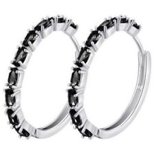 925 Sterling Silver 14k White Gold Filled Black Onyx Hoop Earrings