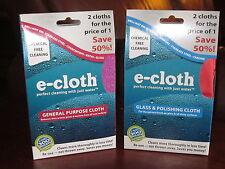 E-Cloth 2 PK General Purpose Microfiber Cleaning AND 2 PK Glass Polishing Cloths