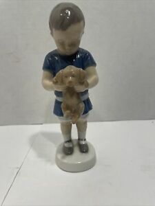"B&G Bing and Grondahl #1747 Boy with Puppy Dog Porcelain Figurine Denmark 6 3/4"""