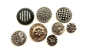 """Lot of 8 antique black glass buttons w silver luster, 3/8"""" to 3/4"""""""