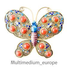 Jugendstil Schmetterling Silber Brosche Emaille Koralle silver china 🌺🌺🌺🌺🌺