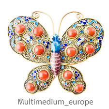 Jugendstil Schmetterling Silber Brosche Emaille Koralle silver butterfly china