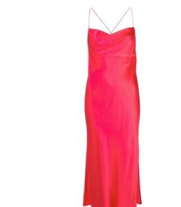 Michelle Mason cowl bias long dress in pink size small