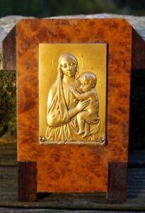 antikes Wandbild Bronze A.Sales Madonna mit Kind Jesus Christus edel & schön