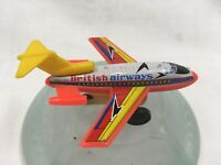 RARE BRITISH AIRWAYS B727 JET FRICTION TOY ORANGE YELLOW VINTAGE MADE IN JAPAN