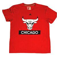 Adidas Climalite Chicago Bulls Mens Large Red Short Sleeve NBA T shirt