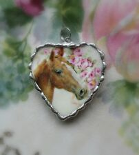 Vintage Recycled Broken China~Horse in the Roses~ Heart ~Pendant~Necklace