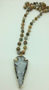 Fashion Woman jasper stone link necklace w crystal arrowhead pendant jewelry
