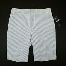 Women's Chaps Icon Seersucker Shorts - White/Blue - 8