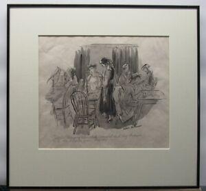 Helen Hokinson 1940s Original Cartoon Listed New Yorker Cartoonist Artist