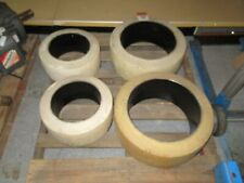 4x Non-Skid Forklift Tires Solid Rubber 16x7x10.5 (x2) 21x8x15 (x2) Wide Track