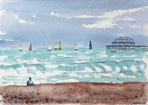 Brighton Beach and West Pier Watercolour Artist Doug Myers A5 PRINT 1342