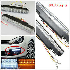 2x30 LED Car Auto  White DRL & Amber Turn Signal Daytime Running Light Daylight