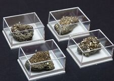 NATURAL Iron Pyrite in display case Fools gold mineral healing Crystal Specimens