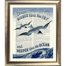 ART PRINT ON DICTIONARY BOOK PAGE Picture Seaside Nautical Bird Quote Sea OLD