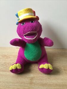 """Fisher-Price 2001 Barney & Friends Silly Hats Talking Soft Plush Toy 11"""" Mattel"""