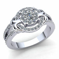 Genuine 0.75ct Round Diamond Ladies Bridal Halo Cluster Engagement Ring 18K Gold