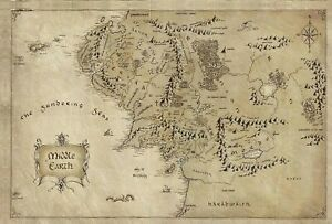 Lord Of The Rings - Middle Earth Map Fantasy Large Poster / Canvas Picture Print
