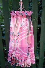 New BOHO Ladies (A/B Cup; Size 10) Halter Tie Elastic Back PINK MAXI DRESS