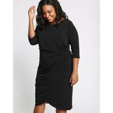 #225 Bnwt Taille 32 m&s collection courbe Drape manches mi-longues Wrap Midi robe noire