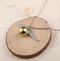 "Harry Potter Snitch Pendant Necklace Gold & Silver 1"" Chain 20"" US Seller"