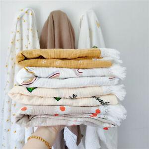 Muslin Cotton Baby Scarf Swaddle Bath Towel Newborns Gauze Tassel Blankets Wrap
