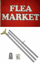3x5 Advertising Flea Market Red White Flag Aluminum Pole Kit Set 3'x5'