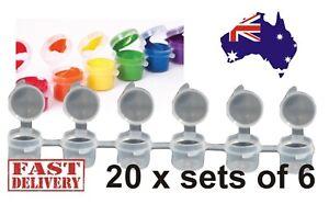 Paint Pots Kids Arts Craft Resealable Plastic Tubs (6x5ml) 20 Sets of 6