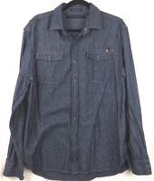 Sean John Mens XL Denim Jean Tailored Fit Long Sleeve Button Down Blue Shirt