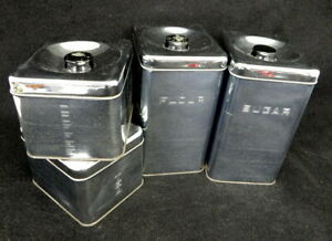 Mid Century Lincoln Beauty Ware Chrome Metal Flour Sugar Coffee Tea Canister Set