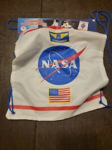 Kids White Astronaut Drawstring Backpack with NASA Logo Officially Licensed. E
