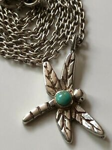 Vintage sterling silver and turquoise dragonfly pendant & '925' chain necklace