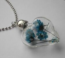 REAL DRIED FLOWERS LARGE HEART PENDANT NECKLACE WITH STAINLESS STEEL LONG CHAIN
