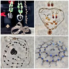 Tone Necklaces Earrings Jewelry Lot Vintage Modern Fancy Costume Silver Gold