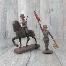 ELASTOLIN - Massefigur - Soldat mit Pferd und Soldat m. Fahnen - #Ac35848