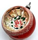 Vintage West Germany Multi-Colored Indent Reflector Glass Ornament w/MICA & Star