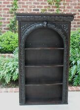 Antique English Oak GOTHIC Arched Plate Rack Display Wall Shelf Bookcase 19th C