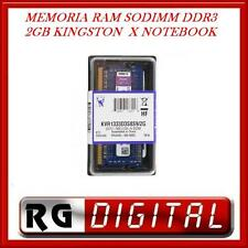 MEMORIA RAM 2GB SODIMM X NOTEBOOK PORTATILI DDR3 1333 Mhz CL9 204 PIN KINGSTON
