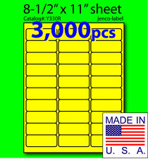 Y330R, 3,000 Yellow Fluorescent Address Labels, 2-5/8x1