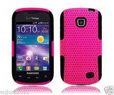 Samsung Galaxy Proclaim Illusion Mesh Hybrid Case Skin Cover Hot Pink Black