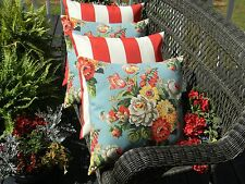 "Set of 4 ~ 20"" Blue Red Yellow Floral and Red Stripe Decorative Throw Pillows"