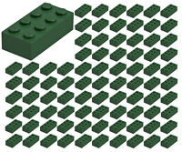 ☀️100 NEW LEGO 2x4 DARK GREEN Bricks (ID 3001) BULK Parts star wars city town