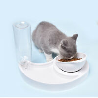 Automatic 2in Pet Feeder Cat Dog Bowl Water Dispenser Puppy Drinking Food