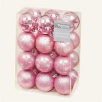 Christmas Tree Decoration 24 Pack 60mm Shatterproof Baubles - Pink