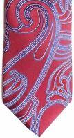 "Van Heusen Men's Silk Tie 59"" X 3.25"" Red w blue/silver Abstract Paisley"
