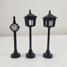 Vintage Dept 56 Heritage Village Cast Metal Town Clock #51101 and 2 Street Lamps