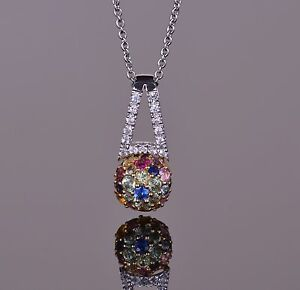Sphere Multi-Color Sapphire Pendant 14k White and Yellow Gold